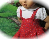 Vintage 1950s American Girl Doll Dress & Blouse - Red, White, and Blue