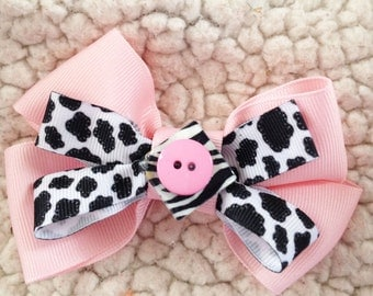 Cute Pink Black and White Girl Dog and Cat Collar Bow