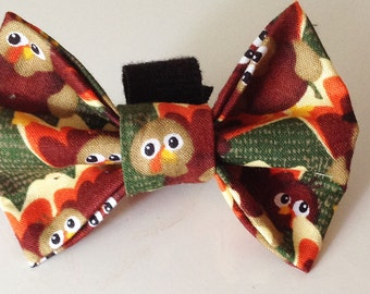 Fall Thanksgiving Turkey Dog Collar Bow Tie- Gobble Gobble
