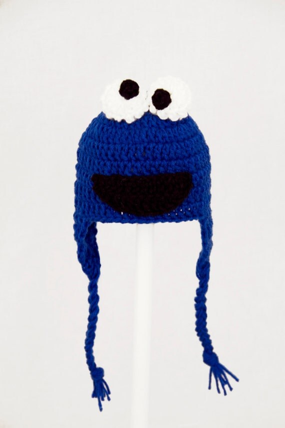 Cookie Monster Earflap Hat, Blue Sesame Street Beanie in all sizes baby - adult