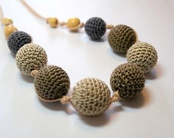 Handmade beaded crochet necklace, jewellery, earthy tones, grey
