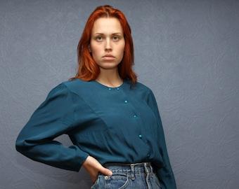 Blue Vintage Womens Blouse Size M