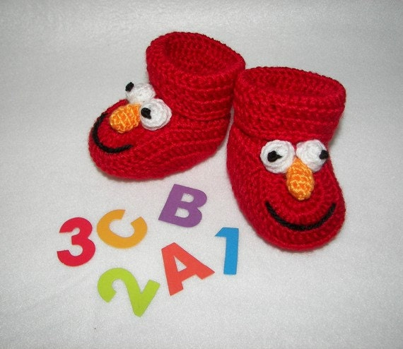 Elmo Knitting Pattern : Crochet Pattern Baby Booties Elmo Instant Download Size 0-6
