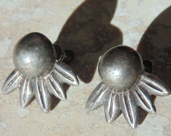 Los Castillo Sterling Silver Screw Back Earrings from Taxco, Mexico