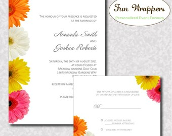 Gerbera Daisy Wedding Invitation and RSVP card- Printable Digital or Printed Invitation