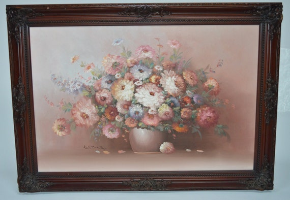 Items Similar To Stunning Original Large Wood Framed K Stone Floral Flowers Arrangement In Vase