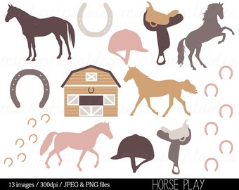 Horse Clipart, Horses Clip Art, Stable, Horse riding, Saddle, Animal clipart, Silhouette, Pony - Commercial & Personal - BUY 2 GET 1 FREE!