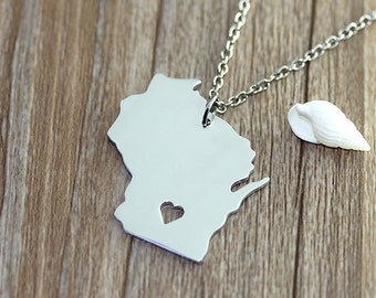I heart Wisconsin Necklace - Wisconsin Pendant - State Necklace - State Charm - Map necklace - Map Jewelry