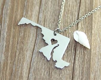 I heart Maryland Necklace - Maryland Map Pendant - State Necklace - State Charm - Map necklace - Map Jewelry