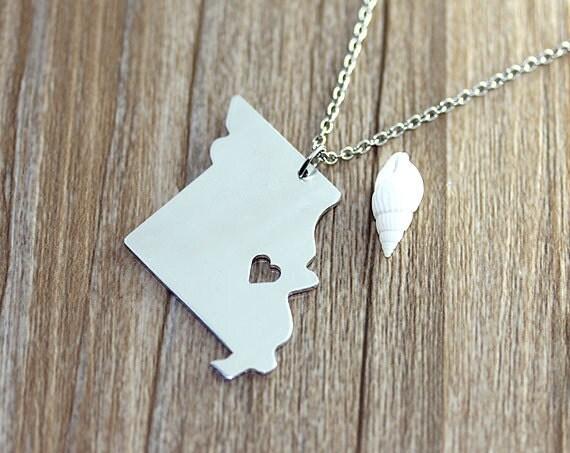 I heart Missouri Necklace - Missouri Pendant - State Necklace - State Charm - Map necklace
