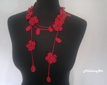 Crochet Necklace,Crochet Neck Accessory, Flower Necklace, Red, 100% Cotton.
