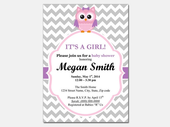 Owl Baby Shower Invitation Template - Baby girl DIY Editable Template ...