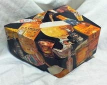 Vintage 1960's Booze box, trapezoid shaped, decoupaged, black, collage