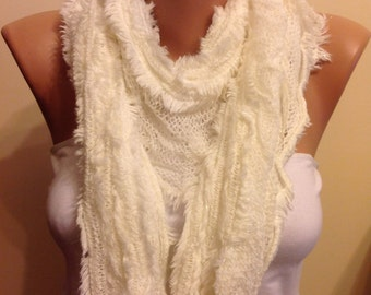50%SALE!!-White Knitted Scarf,Fringed Scarf ,Knitted Fluffy and Shiny Glitter Scarf,Very soft ,Accessory,Women Fashion,Bridesmaid,Accessory