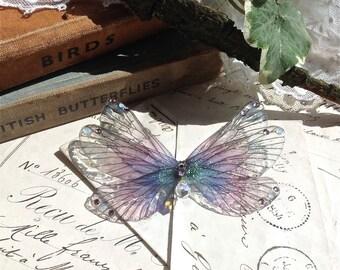 Pretty purple rainbow Faerie wing Small Brooch