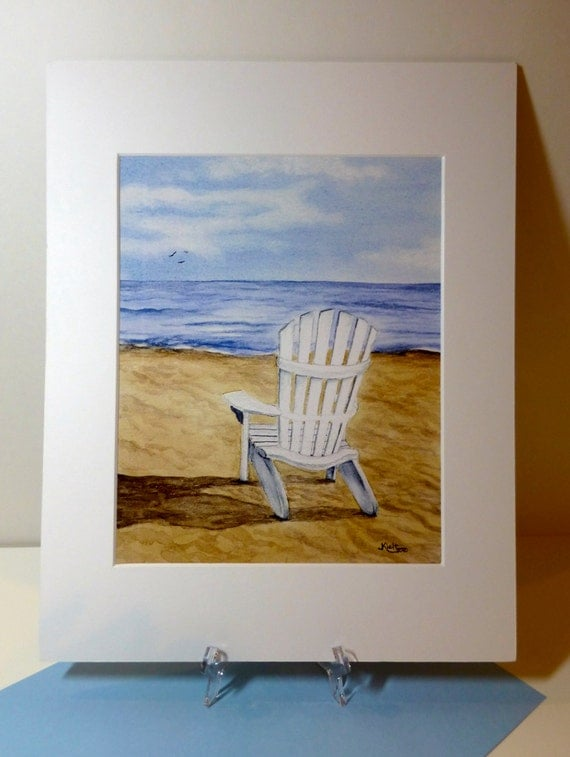 "Beach Chair Watercolor, 11"" by 14"" matted print"