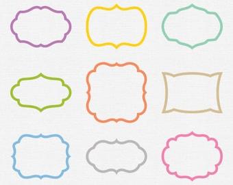 Spring Frame Clip Art Pastel Digital Frame Graphics Blue ...