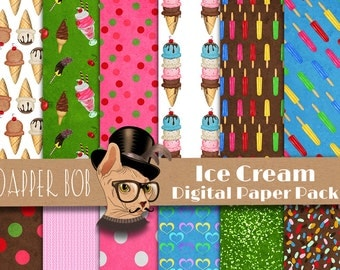 Ice Cream Digital Paper Pack for Scrap-booking and Paper Craft