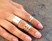 Edgy High Shine Gold / Silver 3 Piece Set Adjustable Cuff Midi Rings / Cuff Knuckle Rings / Jewelry / Accessories / Gift Ideas For Her