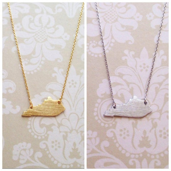delicate kentucky state necklace gold silver
