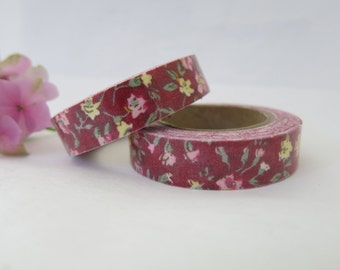 Maroon Floral Fabric Tape / Adhesive Decoration Fabric Tape  FT029