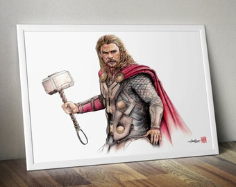 Thor -  The Avengers  - Illustrated Giclee Print