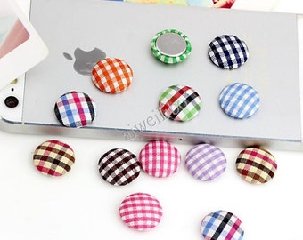 50 pcs Mixed Color Fabric Buttons ,Covered Buttons ,Plaid Button,Flat Back Buttons
