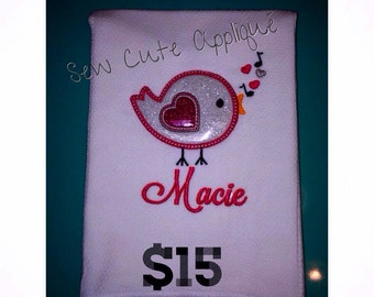 Personalized tweet tweet bird burp cloth, cloth diaper burp cloth, embroidery, appliqued, baby gift