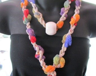 Multicolor Cord Scarf with Ceramic bead