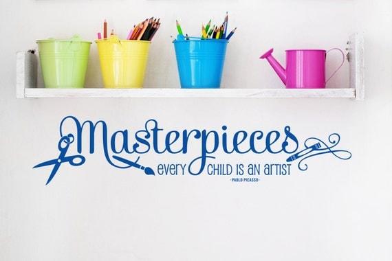 Masterpieces Wall Decal Art Display Vinyl Decal for Girls Boys Room Drawings Playroom Nursery