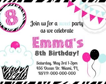 Zebra Cupcake Birthday Party Invitation