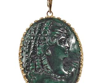 Malachite cameo in 18k with malachite bead necklace