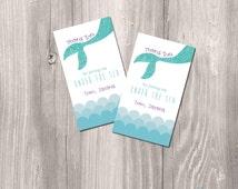 Mermaid Printable Favor Tags - Little Mermaid DIY Favor tags or thank you cards - Mermaid Party Printable Favor tags - Ocean Party favor tag