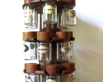 vintage 1960s 1970s wooden swivel spice rack with glass jars cole and mason london. Black Bedroom Furniture Sets. Home Design Ideas