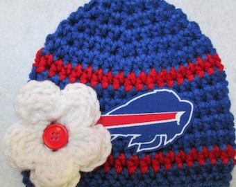 Crochet Baby Hat, Baby Girl Hat, Crochet Buffalo Blue and Red Football Hat, Crochet Baby Girl Hat. Three Sizes Available