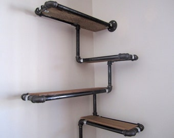 Pipe Wall Shelf with Reclaimed Wood, Custom Pipe Shelves. Made To Order Corner Shelf, Reclaimed Wood and Black or Galvanized Iron Pipe