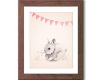 Pink Rabbit Nursery Art - Bunny Watercolor Print - Woodland Nursery Decor - Pink and Gray Nursery Art - Baby Girl Nursery Art - R201