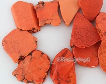 10 Pcs High Quality Orange Turquoise Beads,Slab Turquoise Beads,Top Drilled Slab Beads,Turquoise Beads,Turquoise Stone,Gemstone Beads--BT049