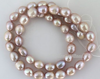 High Quality 7-8MM Rice Purple Pure Freshwater Natural Pearl Beads,Pearl Beads,One Full Strand,Gemstone Beads-44Pcs-14inches--BP008