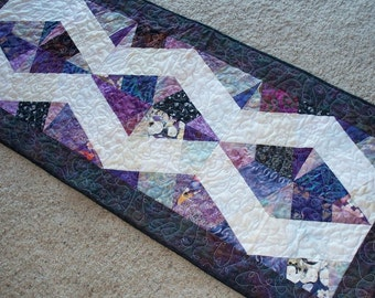 "Purples X-Block Table Runner, 19"" by 46"""
