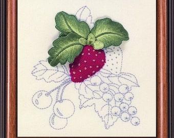 ST 302 Strawberry Summer Fruits Starter Stumpwork Raised Embroidery kit