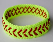 Crochet Softball Headband Neon Yellow Girls Womens Baseball Headband - Custom Sweatband -Large Team Orders Available - More Colors Available