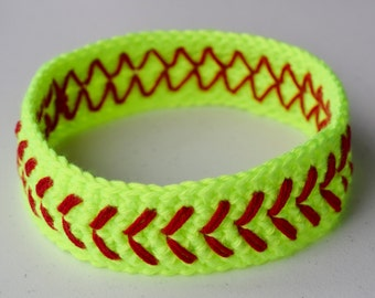 Crochet Softball Headband Neon Yellow Girls Womens Baseball Headband - Custom Sweatband -Large Team Orders Available - More Colors Available