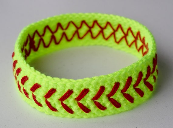 Free Crochet Pattern For Softball Headband : Crochet Softball Headband Neon Yellow Girls Womens Baseball