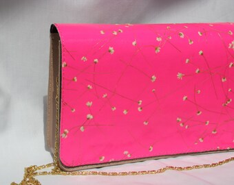 ROSE BEIGE andHOT PINK handmade leather clutch with natural flowers