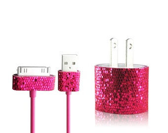 Glitter Bling iPhone 4 iPhone 4S Charger Set