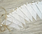 12 paper and lace bunting flags garland party decor,Wedding bunting flags,Lace and paper bunting flags party decoration,Wedding decor