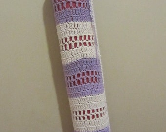 100% Cotton Crochet Lavender and Off White Yoga Mat Bag