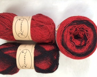 kauni - lace weight wool - color xdmc - red and black