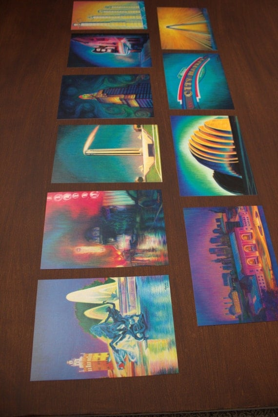 "5"" x 7"" art postcard sets. One of each of the 10 artworks from the Kansas City Landmark series."